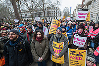 Striking UCU lecturers and their student supporters hold a protest outside the headquarters of Universities UK in Tavistock Square London. 26-2-18