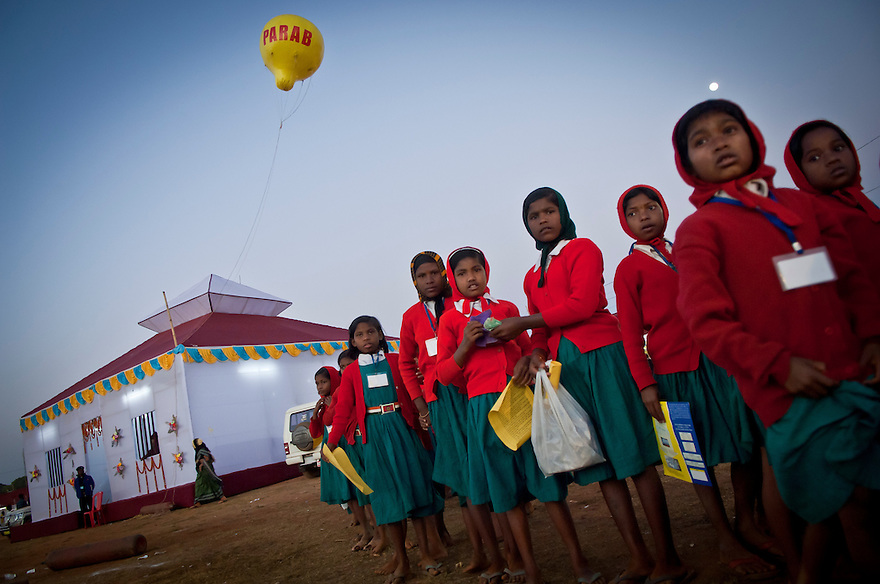 Indian school children awaits to participate in a show at a cultural fair in the Eastern Indian state of Orissa on the 18th of january 2010.