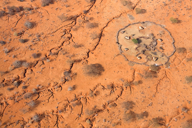 .Where water once ran: Aerial of erosion that scars the land near a Samburu manyatta in drought stricken Northern Kenya...The worst drought (2008-2009) in more than a decade in Northern Kenya..