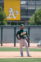 Oakland Athletics first baseman Alonzo Medina (25) during an Extended Spring Training game against the San Francisco Giants Orange at the Lew Wolff Training Complex on May 29, 2018 in Mesa, Arizona. (Zachary Lucy/Four Seam Images)