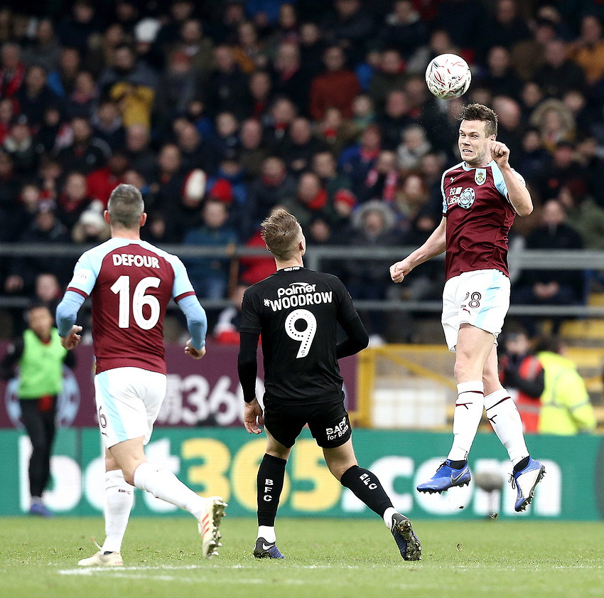 Burnley's Kevin Long heads clear<br /> <br /> Photographer Rich Linley/CameraSport<br /> <br /> Emirates FA Cup Third Round - Burnley v Barnsley - Saturday 5th January 2019 - Turf Moor - Burnley<br />  <br /> World Copyright © 2019 CameraSport. All rights reserved. 43 Linden Ave. Countesthorpe. Leicester. England. LE8 5PG - Tel: +44 (0) 116 277 4147 - admin@camerasport.com - www.camerasport.com