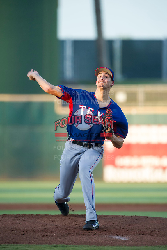AZL Rangers starting pitcher Hans Crouse (55) delivers a pitch to the plate against the AZL Indians on August 26, 2017 at Goodyear Ball Park in Goodyear, Arizona. AZL Indians defeated the AZL Rangers 5-3. (Zachary Lucy/Four Seam Images)