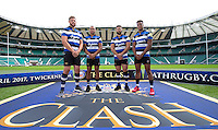 "Dave Attwood, Guy Mercer, Jonathan Joseph and Anthony Watson of Bath Rugby. Bath Rugby Photocall for ""The Clash"" on September 22, 2016 at Twickenham Stadium in London, England. Photo by: Andrew Fosker / Onside Images"
