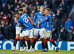 02.02.2019: Rangers v St Mirren: James Tavernier and Jernain Defoe celebrate the third goal but Alfredo Morelos is not amused being denied the chance to take the spot kick