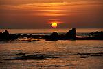 Sunset near Cape Erimo in south Hokkaido. Japan.