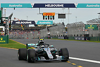 March 24, 2018: Valtteri Bottas (FIN) #77 from the Mercedes AMG Petronas Motorsport team leaves the pit for his qualifying lap at the 2018 Australian Formula One Grand Prix at Albert Park, Melbourne, Australia. Photo Sydney Low