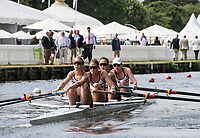 Henley-on-Thames. United Kingdom.  2017 Henley Royal Regatta, Henley Reach, River Thames. <br /> Women's Four. New York Athletic Club. Bow Olivia COFFEY, Kerry SIMMONDS Susan FRANCIA and Felice MUELLER<br /> 10:36:24  Friday  30/06/2017<br /> <br /> [Mandatory Credit. Intersport Images}.