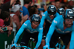 Nairo Quintana (COL) and Movistar Team in action during Stage 1 of La Vuelta 2019, a team time trial running 13.4km from Salinas de Torrevieja to Torrevieja, Spain. 24th August 2019.<br /> Picture: Colin Flockton | Cyclefile<br /> <br /> All photos usage must carry mandatory copyright credit (© Cyclefile | Colin Flockton)