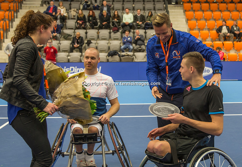 Rotterdam, Netherlands, December 14, 2016, Topsportcentrum, Lotto NK Tennis, Wheelchair doubles final: winners  Maikel Scheffers (L) and Ruben Spaargaren. receive their trophy's  <br /> Photo: Tennisimages/Henk Koster