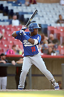 Johan Mieses (18) of the Rancho Cucamonga Quakes bats against the High Desert Mavericks at Heritage Field on August 7, 2016 in Adelanto, California. Rancho Cucamonga defeated High Desert, 10-9. (Larry Goren/Four Seam Images)