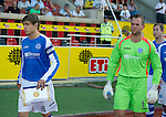 St Johnstone v Eskisehirspor....19.07.12  Uefa Cup Qualifyer.Murray Davidson and Alan Mannus line up before kick off.Picture by Graeme Hart..Copyright Perthshire Picture Agency.Tel: 01738 623350  Mobile: 07990 594431