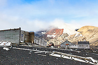 Ruined buildings and rusting  facilities at Whalers Bay are remnants of the bygone whaling era at an abandoned Norwegian whaling base  on Deception Island, in the South Shetland Islands near the Antarctic Peninsula.