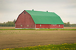 Red barn with green roof. Huron County, Michigan.