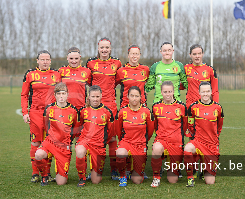 20140209 - TUBIZE , BELGIUM : Belgian Team pictured with Lucinda Michez (10) , Silke Leynen (22) , Tine De Caigny (4) , Pauline Windels (2)  , Diede Lemey (12) , Sheryl Merchiers (15) , Jessie Taets (8) , Chloe Van Mingeroet (3) , Lola Wajnblum (9) , Sheila Broos (21) and Elke Van Gorp (11) during a friendly soccer match between the Under 19 ( U19) women teams of Belgium and The Netherlands , Sunday 9 February 2014 in Tubize . PHOTO DAVID CATRY