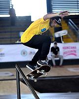 BOGOTA - COLOMBIA - 13 - 08 - 2017: Eduardo Mata, Skater de Ecuador, durante competencia en el Primer Campeonato Panamericano de Skateboarding, que se realiza en el Palacio de los Deportes en la Ciudad de Bogota. / Eduardo Mata, Skater from Ecuador, during a competitions in the First Pan American Championship of Skateboarding, that takes place in the Palace of Sports in the City of Bogota. Photo: VizzorImage / Luis Ramirez / Staff.