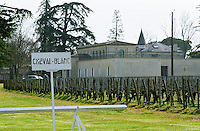 The vineyard and chateau of Chateau Cheval Blanc. A white painted sign in the vineyard saying Cheval Blanc (The White Horse) with the chateau in the background in early spring. Château Cheval Blanc, Saint St Emilion, Bordeaux Gironde Aquitaine France Europe