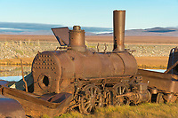 The Last Train to Nowhere, derelict steam engines remnant of the Council City and Solomon River Railroad were abandoned on the tundra near Nome in 1907 when construction was stopped on a railroad.