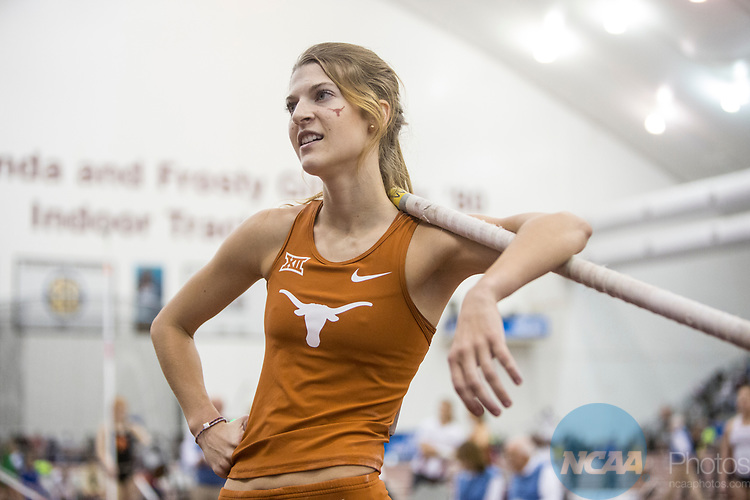 COLLEGE STATION, TX - MARCH 11: Kally Long of Texas competes in the pole vault during the Division I Men's and Women's Indoor Track & Field Championship held at the Gilliam Indoor Track Stadium on the Texas A&M University campus on March 11, 2017 in College Station, Texas. (Photo by Michael Starghill/NCAA Photos/NCAA Photos via Getty Images)