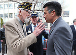 From left, veteran Charles Sehe, Bud Southard, president of the Navy League and Gov. Brian Sandoval talk after a USS Nevada Centennial Ceremony at the Capitol in Carson City, Nev., on Friday, March 11, 2016. <br />