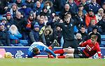 16.03.2019 Rangers v Kilmarnock: Eros Grezda scythed down by Stuart Findlay