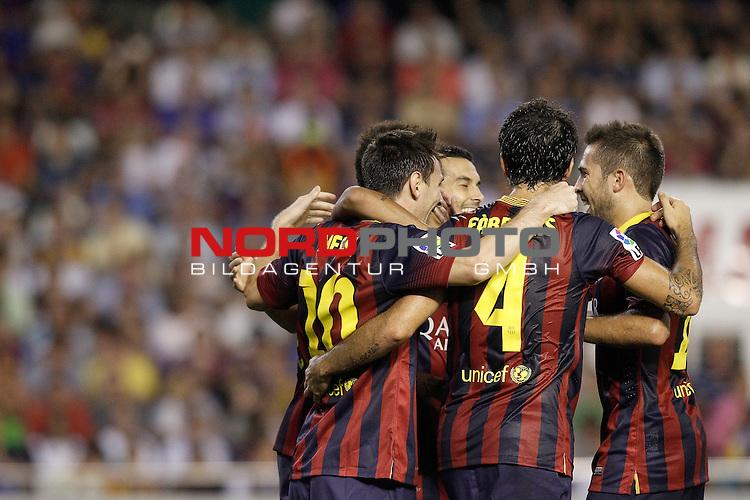 FC Barcelona's Pedro Rodriguez, Leo Messi, Neymar Santos Jr, Cesc Fabregas and Jordi Alba celebrate goal during La Liga match.September 1,2013. Foto © nph / Acero)