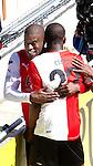 Nederland, Den Haag, 22 april 2012.Seizoen 2011/2012.Eredivisie.Ado Den Haag-Feyenoord.Guyon Fernandez van Feyenoord juicht na het scoren van de 0-2