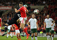 James Chester of Wales misses a header while challenged by Darren Randolph of Ireland during the FIFA World Cup Qualifier Group D match between Wales and Republic of Ireland at The Cardiff City Stadium, Wales, UK. Monday 09 October 2017