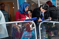Shrooq and Ayman Alrehaili of Beeston fill out the Diabetes UK health check questionaire