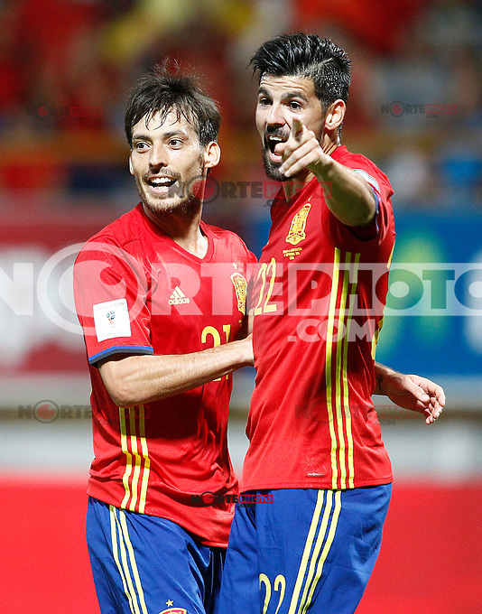 Spain's David Silva (l) and Nolito celebrate goal during FIFA World Cup 2018 Qualifying Round match. September 5,2016.(ALTERPHOTOS/Acero) /NORTEPHOTO