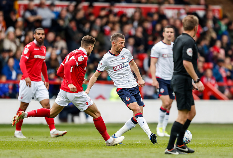 Bolton Wanderers' Gary O'Neil passes <br /> <br /> Photographer Andrew Kearns/CameraSport<br /> <br /> The EFL Sky Bet Championship - Nottingham Forest v Bolton Wanderers - Sunday 5th May 2019 - The City Ground - Nottingham<br /> <br /> World Copyright © 2019 CameraSport. All rights reserved. 43 Linden Ave. Countesthorpe. Leicester. England. LE8 5PG - Tel: +44 (0) 116 277 4147 - admin@camerasport.com - www.camerasport.com