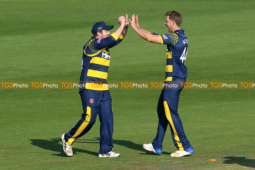 Craig Meschede of Glamorgan is congratulated by his team mates after running out Ravi Bopara during Glamorgan vs Essex Eagles, Royal London One-Day Cup Cricket at the SSE SWALEC Stadium on 7th May 2017