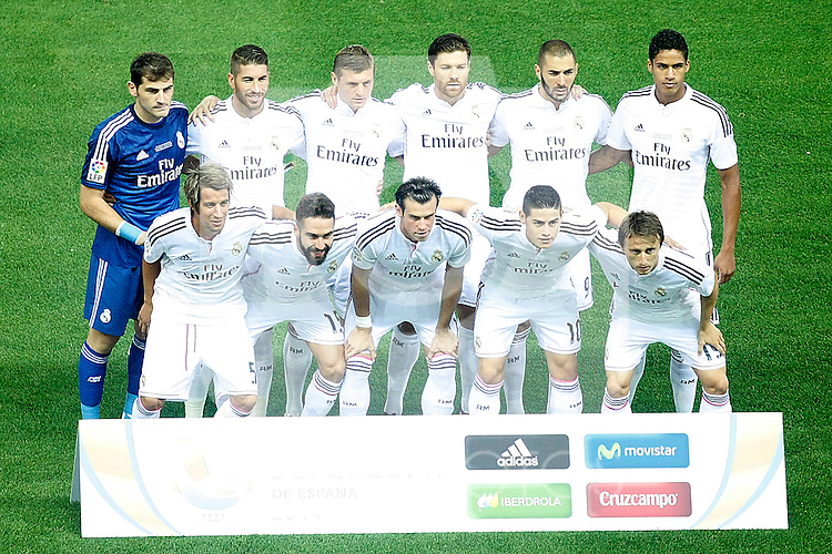 Real Madrid's team photo with Iker Casillas, Sergio Ramos, Toni Kroos, Xabi Alonso, Karim Benzema, Raphael Varane, Fabio Coentrao, Daniel Carvajal, Garet Bale, James Rodriguez and Luka Modric during Supercup of Spain 2nd match.August 19,2014. (ALTERPHOTOS/Acero)