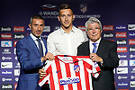 Atletico de Madrid's new player Ivan Saponjic (c) with the President Enrique Cerezo (r) and the General Manager Andrea Berta during his official presentation. July 12, 2019. (ALTERPHOTOS/Acero)