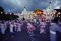Obon Festival, bon dance at Buddhist temple, Oahu