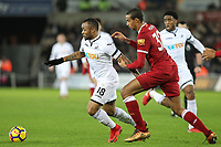 Jordan Ayew of Swansea City  holds off Joel Matip of Liverpool during the Premier League match between Swansea City and Liverpool at the Liberty Stadium, Swansea, Wales on 22 January 2018. Photo by Mark Hawkins / PRiME Media Images.