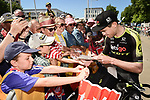 Jack Bauer (NZL) Mitchelton-Scott with fans at sign on before the start of Stage 5 of the 2018 Tour de France running 204.5km from Lorient to Quimper, France. 11th July 2018. <br /> Picture: ASO/Pauline Ballet | Cyclefile<br /> All photos usage must carry mandatory copyright credit (&copy; Cyclefile | ASO/Pauline Ballet)