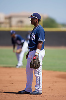 San Diego Padres first baseman Jason Pineda (30) during an Instructional League game against the Texas Rangers on September 20, 2017 at Peoria Sports Complex in Peoria, Arizona. (Zachary Lucy/Four Seam Images)