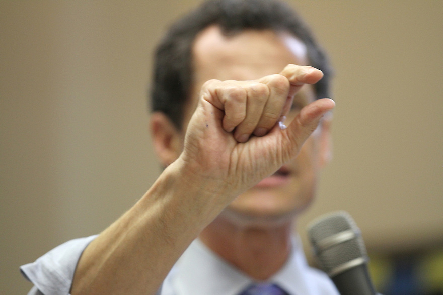 Anthony Weiner speaks to the audience during his stop at the Fortune Society on Thursday, August 8, 2013 in Queens,  New York. (AP Photo/ Donald Traill)
