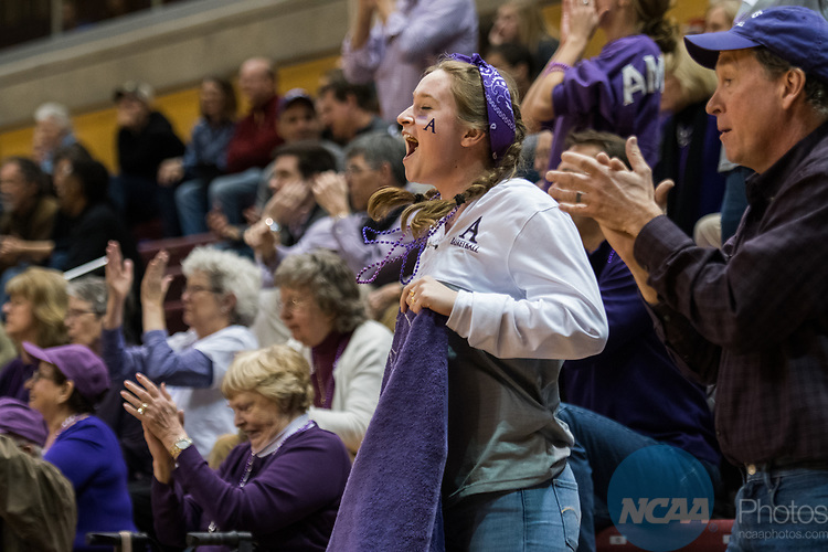 GRAND RAPIDS, MI - MARCH 18: Amherst College fans celebrate a basket during the Division III Women's Basketball Championship held at Van Noord Arena on March 18, 2017 in Grand Rapids, Michigan. Amherst College defeated Tufts University 52-29 for the national title. (Photo by Brady Kenniston/NCAA Photos via Getty Images)