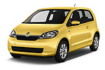 2016 Skoda Citigo Ambition 3 Door hatchback Angular Front stock photos of front three quarter view