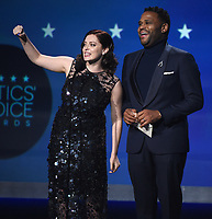 SANTA MONICA, CA - JANUARY 11: Rachel Bloom and Anthony Anderson at the 23rd Annual Critics' Choice Movie Awards at Barker Hangar on January 11, 2018 in Santa Monica, California. (Photo by Frank Micelotta/PictureGroup)