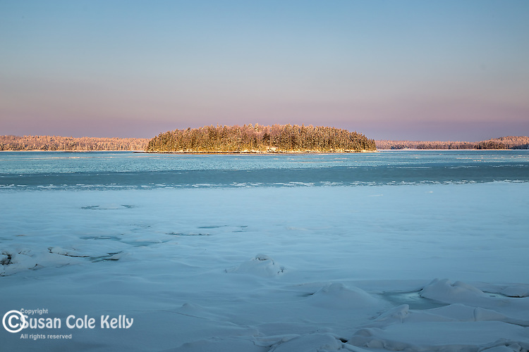 A snowy morning on Tauton Bay in Hancock County, Maine, USA