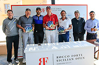 Alvaro Quiros (ESP) and his winning team at the prize giving during the ProAm ahead of the Rocco Forte Sicilian Open played at Verdura Resort, Agrigento, Sicily, Italy 09/05/2018.<br /> Picture: Golffile | Phil Inglis<br /> <br /> <br /> All photo usage must carry mandatory copyright credit (&copy; Golffile | Phil Inglis)