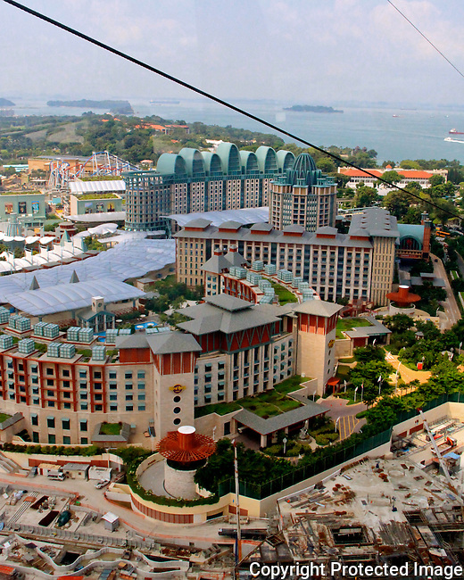 Singapore cable car to Sentosa Island Arial views Universal Studios landscape N A Ebden