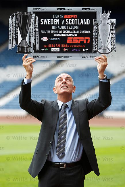 Scotland legend Joe Jordan at Hampden as he promotes ESPN's coverage of Sweden v Scotland