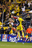 25 OCTOBER 2009:  Edgaras Jankauskas of the New England Revolution (10) and Adam Moffat of the Columbus Crew (22) during the New England Revolution at Columbus Crew MLS game in Columbus, Ohio on October 25, 2009.