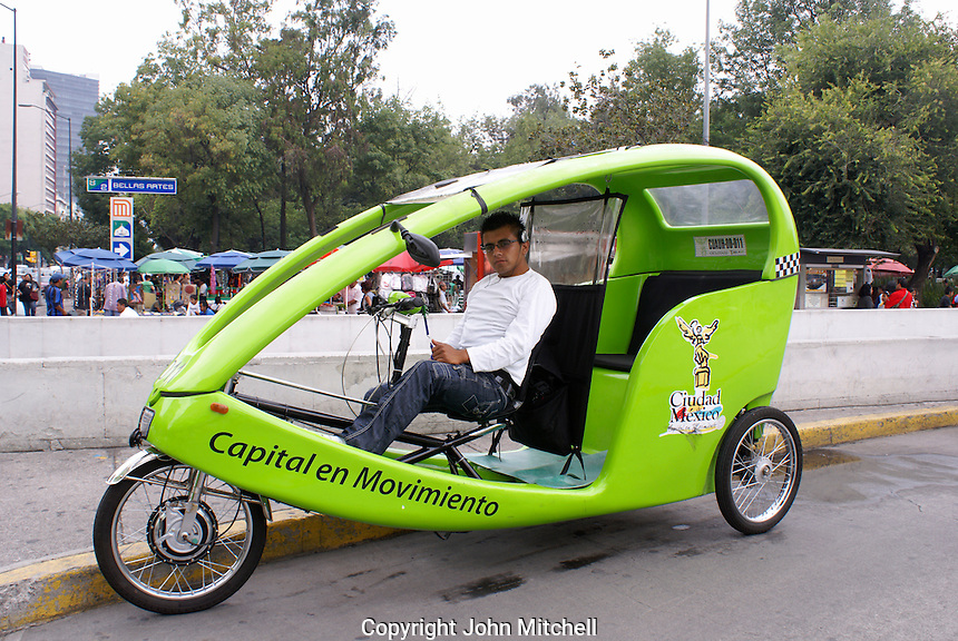Environmentally friendly hybrid pedicab in downtown Mexico City