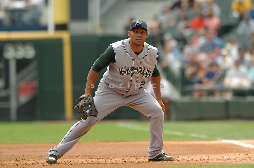 CARLOS PENA, of the Tampa Bay Devil Rays, in action during the Devil Rays game against the Chicago White Sox  in Chicago on August 27, 2007.  The White Sox won the game 5-4............