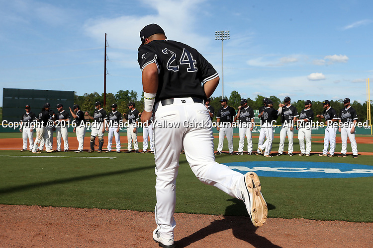 28 May 2016: Nova Southeastern's Brandon Gomez (24) is introduced before the game. The Nova Southeastern University Sharks played the Franklin Pierce University Ravens in Game 3 of the 2016 NCAA Division II College World Series  at Coleman Field at the USA Baseball National Training Complex in Cary, North Carolina. Nova Southeastern won the game 4-3 in twelve innings.