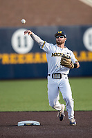 Michigan Wolverines shortstop Michael Brdar (9) makes a throw to first base against the Central Michigan Chippewas on May 9, 2017 at Ray Fisher Stadium in Ann Arbor, Michigan. Michigan defeated Central Michigan 4-2. (Andrew Woolley/Four Seam Images)